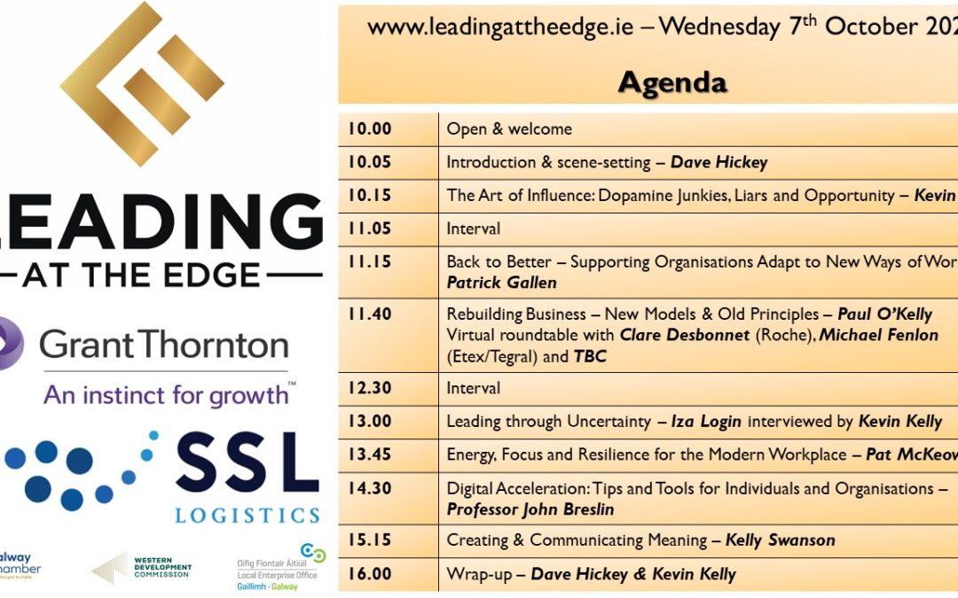 Speakers and programme finalised for Leading At The Edge
